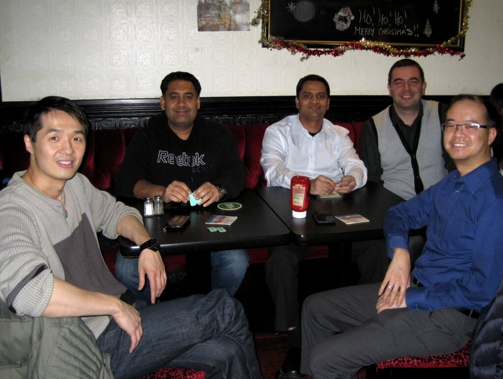 Gary, Darwesh, Ram, Hector and Julian having a laugh at Dapasoft's 2014 Christmas Party